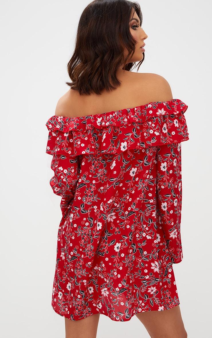 Red Floral Bardot Shift Dress 2