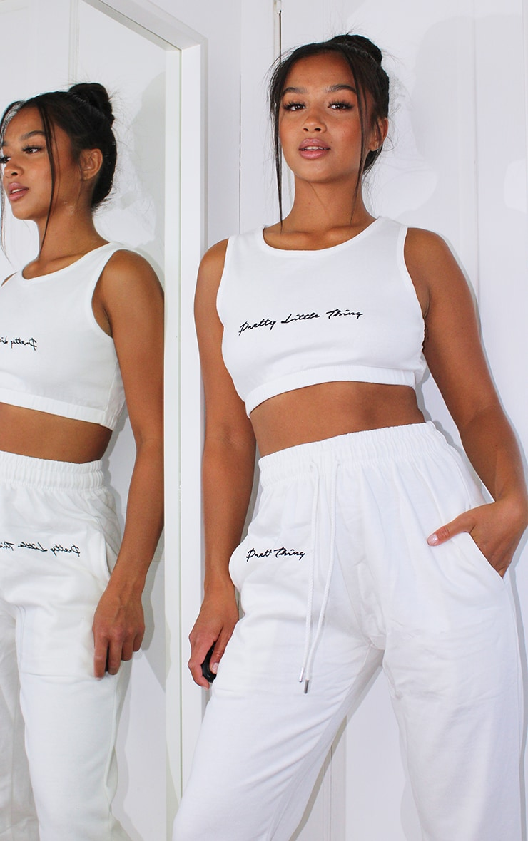 PRETTYLITTLETHING Petite White Cropped Emroidered Cropped Vest 1