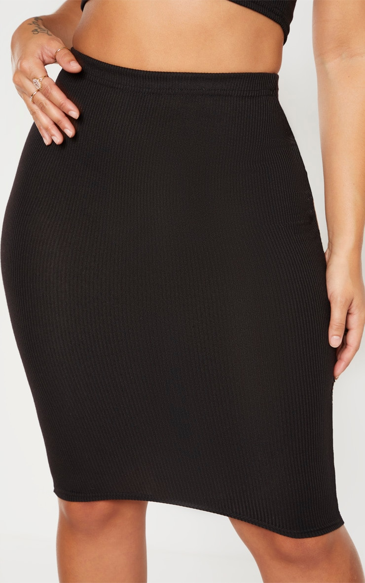 Shape Black Ribbed Basic Midi Skirt 5