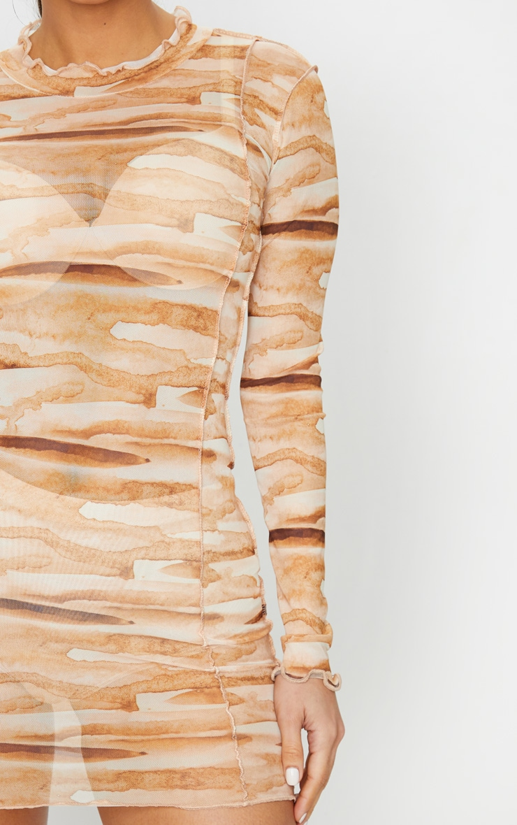 Tan Tie Dye Mesh Frill Edge Detail Bodycon Dress 5