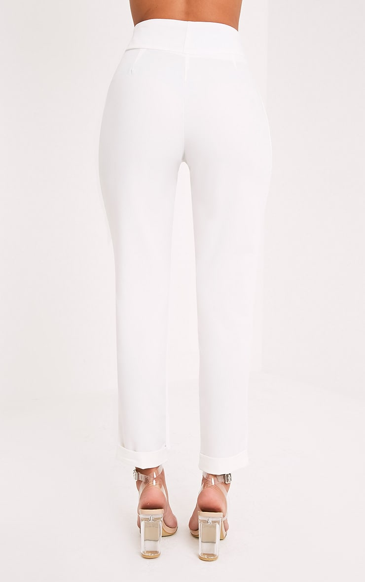 Elenor White High Waisted Tapered Trousers 5