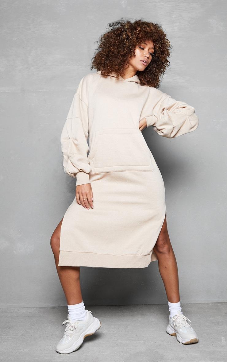 Beige Oversized Hooded Split Side Midi Dress 1
