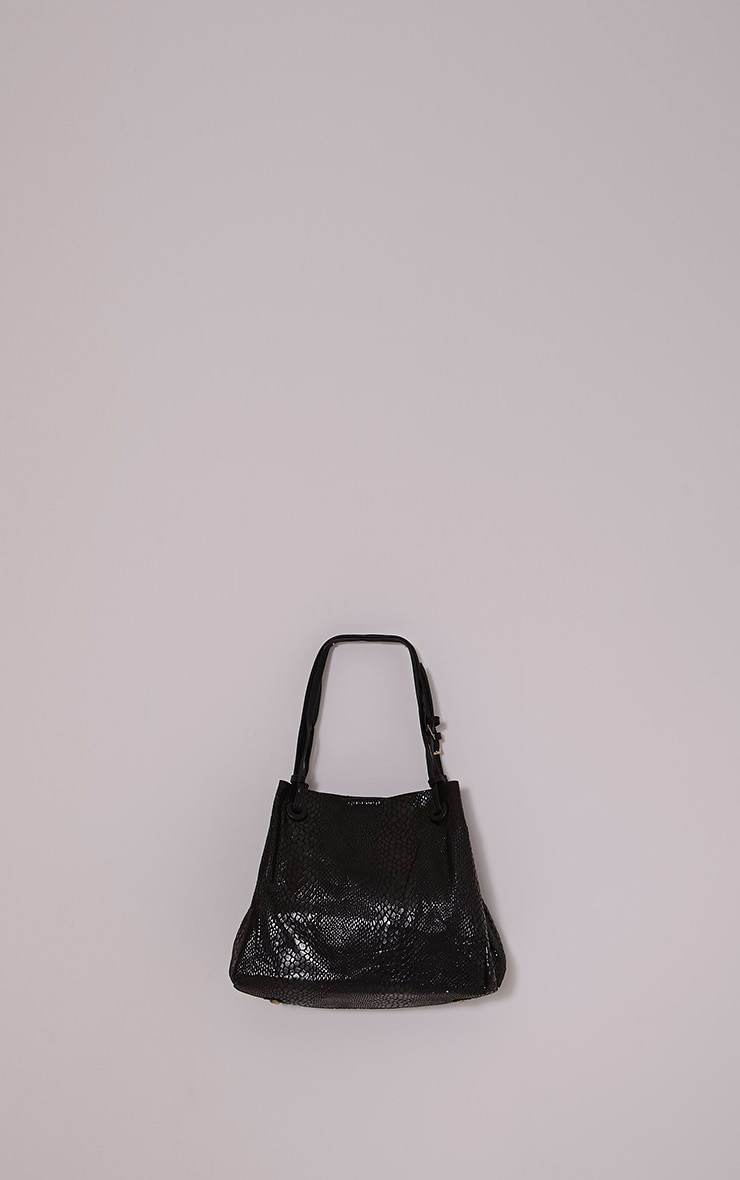Ashlia Black Snake Print Bucket Bag 2
