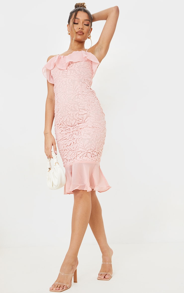 Dusty Pink Chiffon Frill Strappy Lace Midi Dress 1