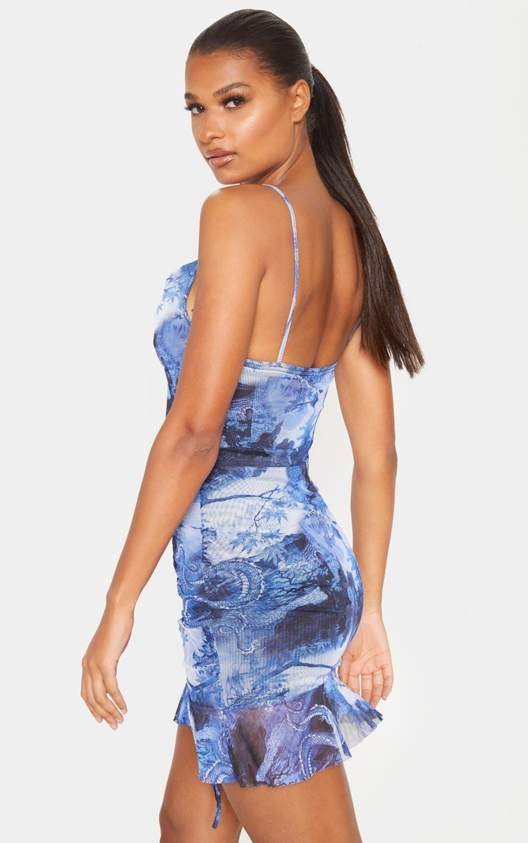 Blue Mesh Oriental Print Ruched Bodycon Dress 2