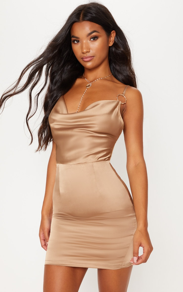 Champagne Satin Cowl Neck Ring Detail Bodycon Dress 1
