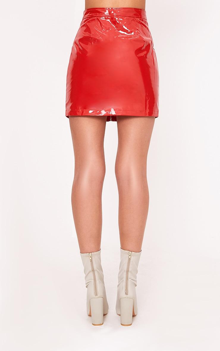 Elinor Red Zip Front Vinyl Mini Skirt 6