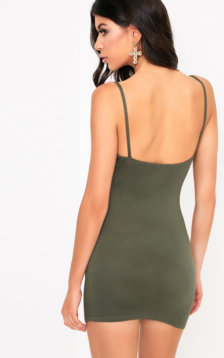 Riana Khaki Strap Detail Bodycon Dress 2
