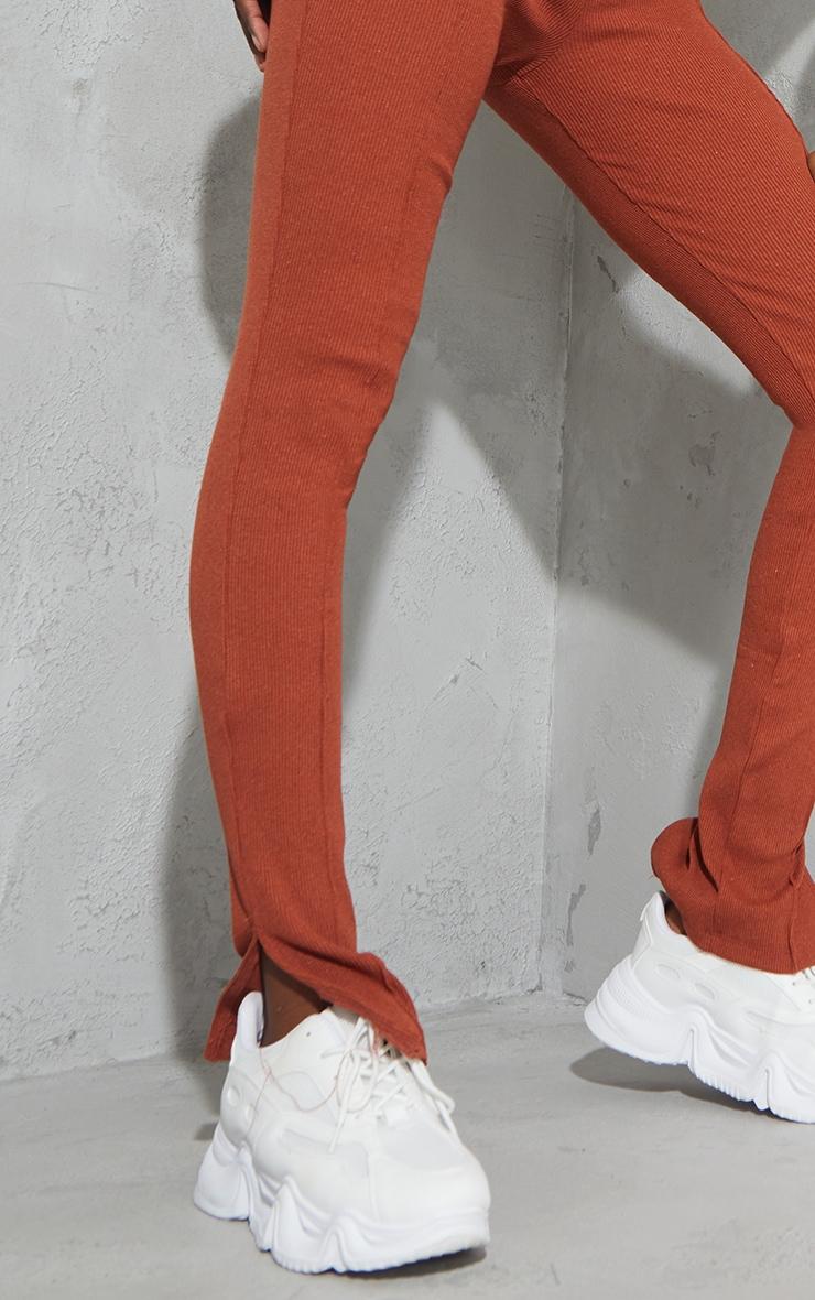 Tall Camel Split Hem Ribbed Skinny Leggings 4