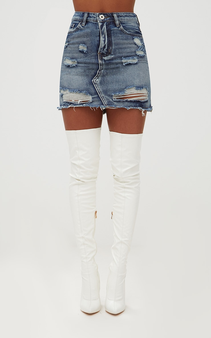 Vintage Wash Distressed Rip Denim Mini Skirt 2