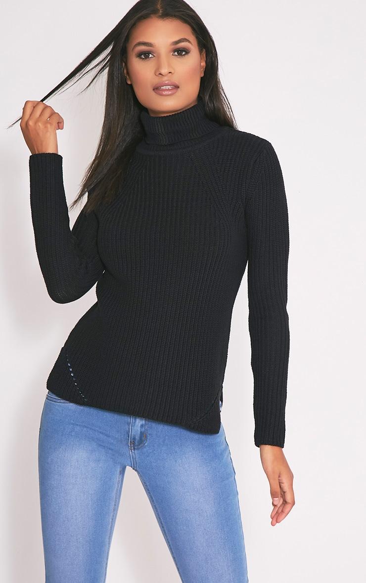 Soraya pull noir tricoté à col roulé 1