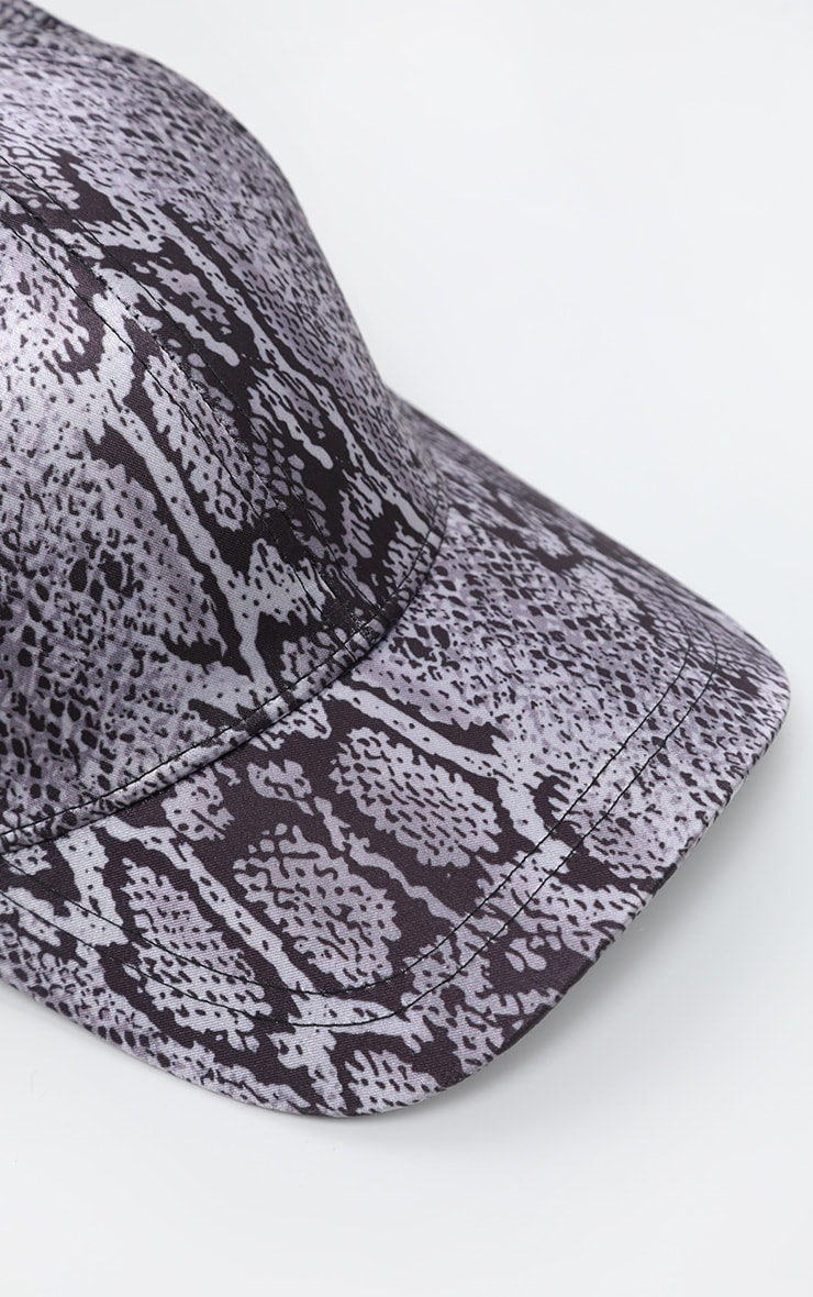 Grey Snake Printed Satin Baseball Cap 4
