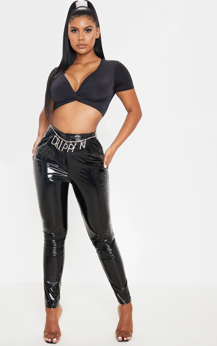 Black Slinky Twist Front Crop Top  4