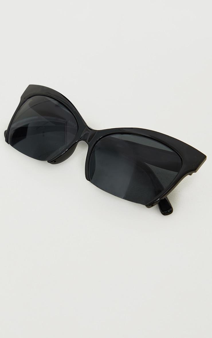 Black Semi Frameless Cat Eye Sunglasses 3