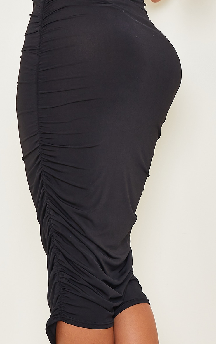 Shape Black Slinky Ruched Sleeveless Midi Dress 4