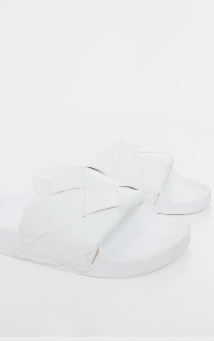 White Platted Woven Pu Sliders 4