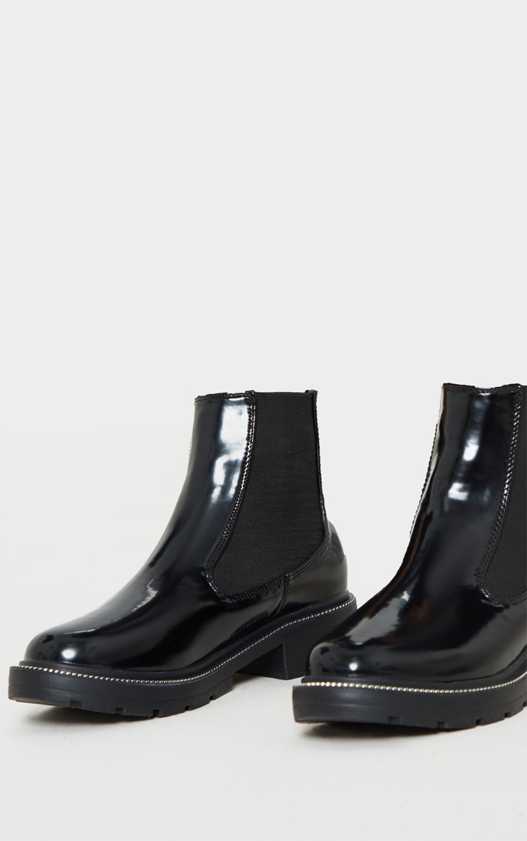 Black Chain Sole Cleated Chunky Chelsea Ankle Boot 3