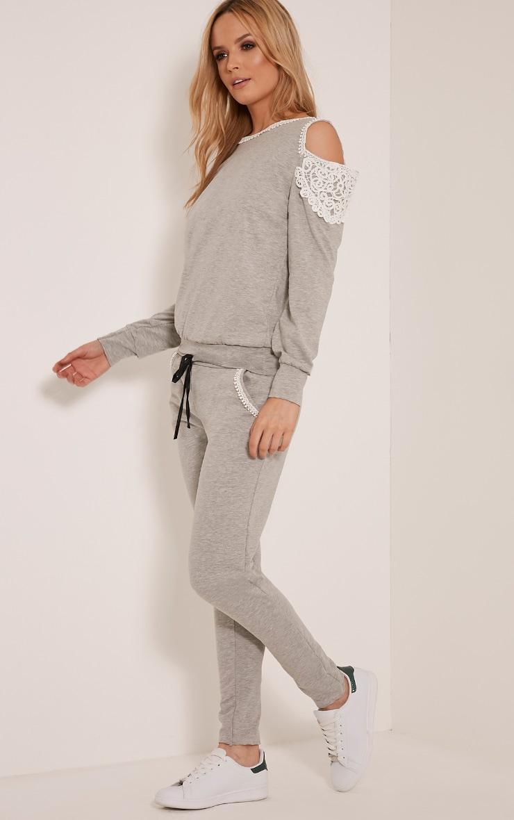 Suzan Grey Lace Trim Tracksuit Sweatshirt 5