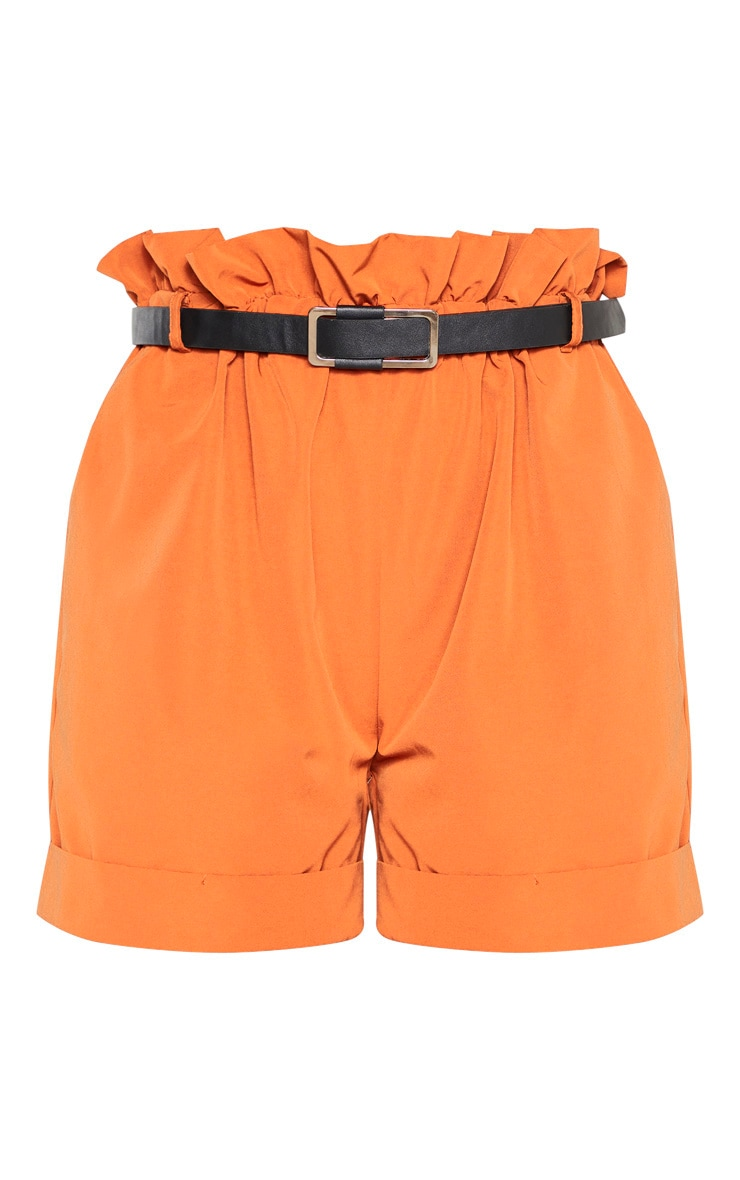 Tall Orange High Waist Paper Bag Belted Shorts 3