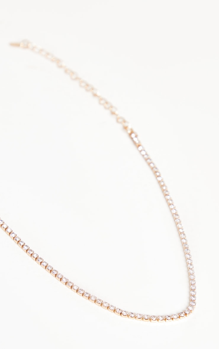 Gold Thin Diamante Choker 4