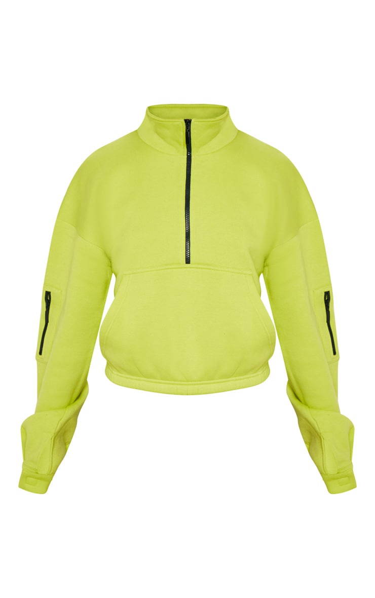 Neon Lime Oversized Zip Front Sweatshirt 3
