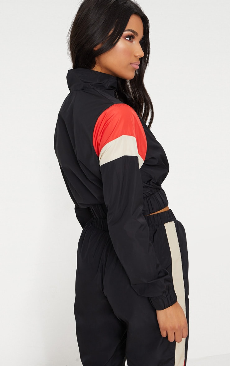 Black Stripe Shell Suit Tracksuit Top 2