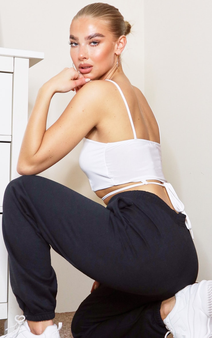 White Slinky Tie Back Strappy Crop Top 2