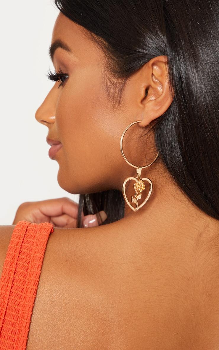 Gold Rose Heart Hoop Earrings