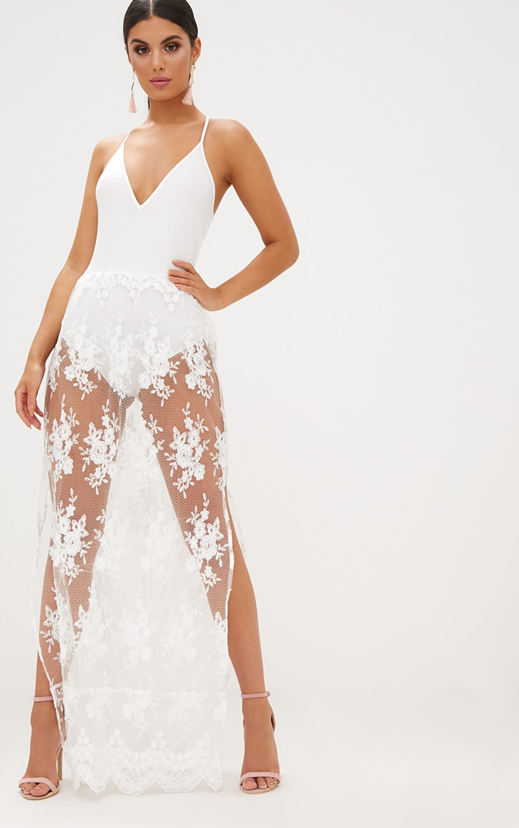 White Sheer Lace Plunge Maxi Dress 1