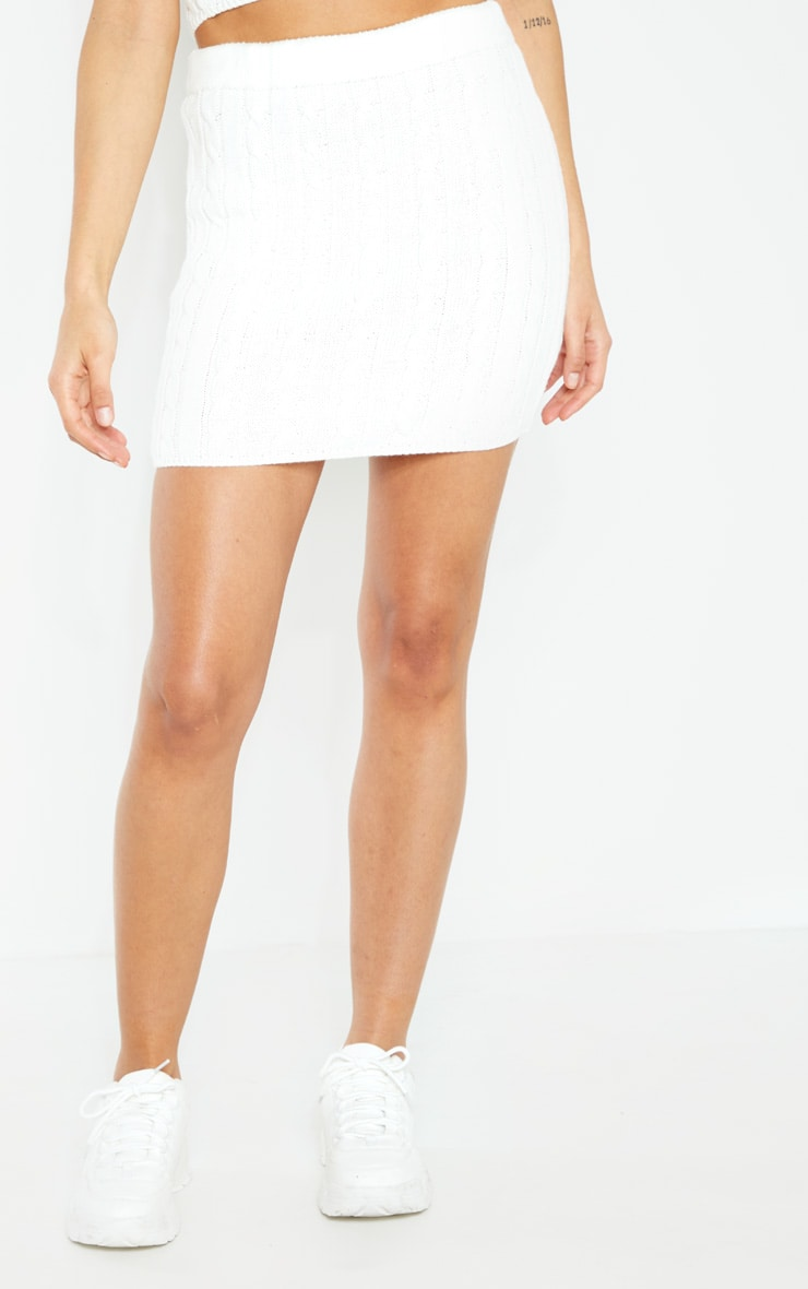 Cream Cable Knitted Skirt 2