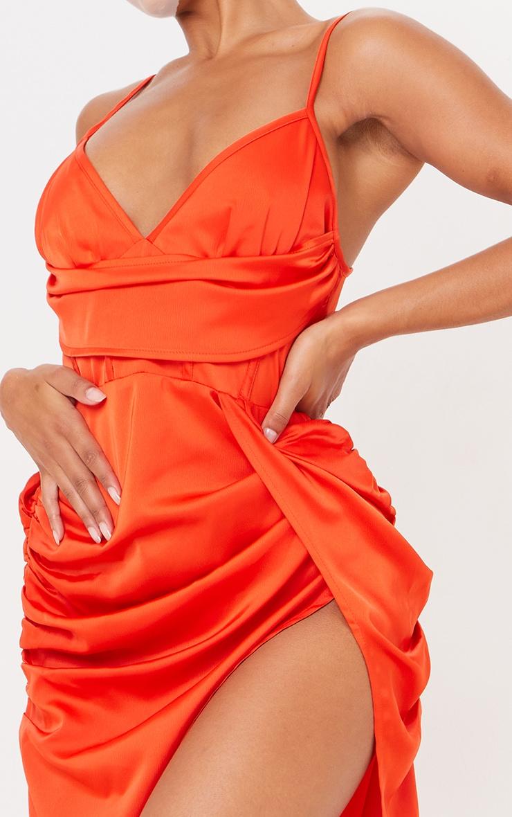 Burnt Orange Satin Strappy Drape Detail Corset Midi Dress 4