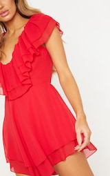 Red Chiffon Frill Plunge Playsuit 5