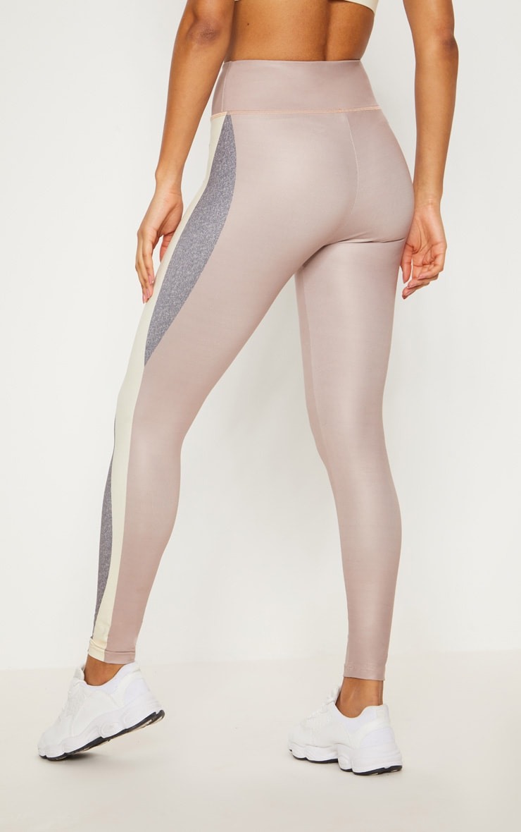 Taupe Contrast Panelled Sports Leggings 5