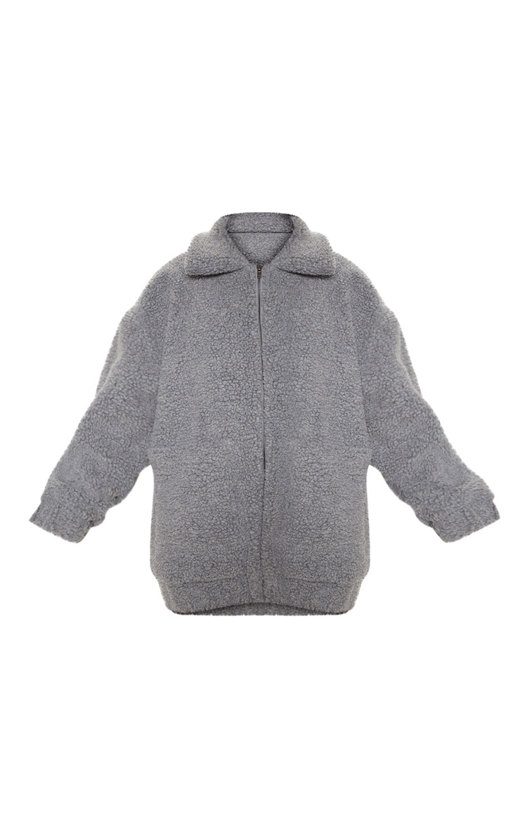 Grey Oversized Borg Pocket Front Coat 4