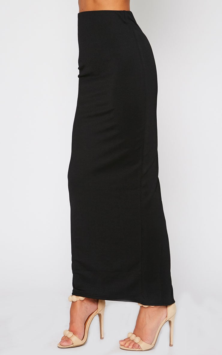 Zafia Black Crepe Split Maxi Skirt 3