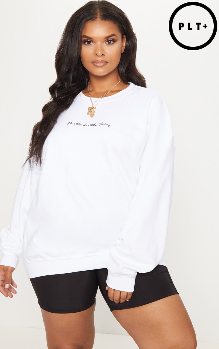 PRETTYLITTLETHING Plus White Oversized Sweater 4