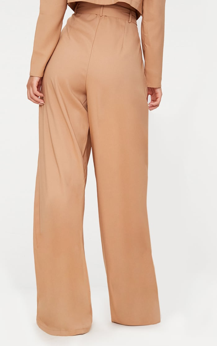 Camel Wide Leg Tie Waist Trousers 4