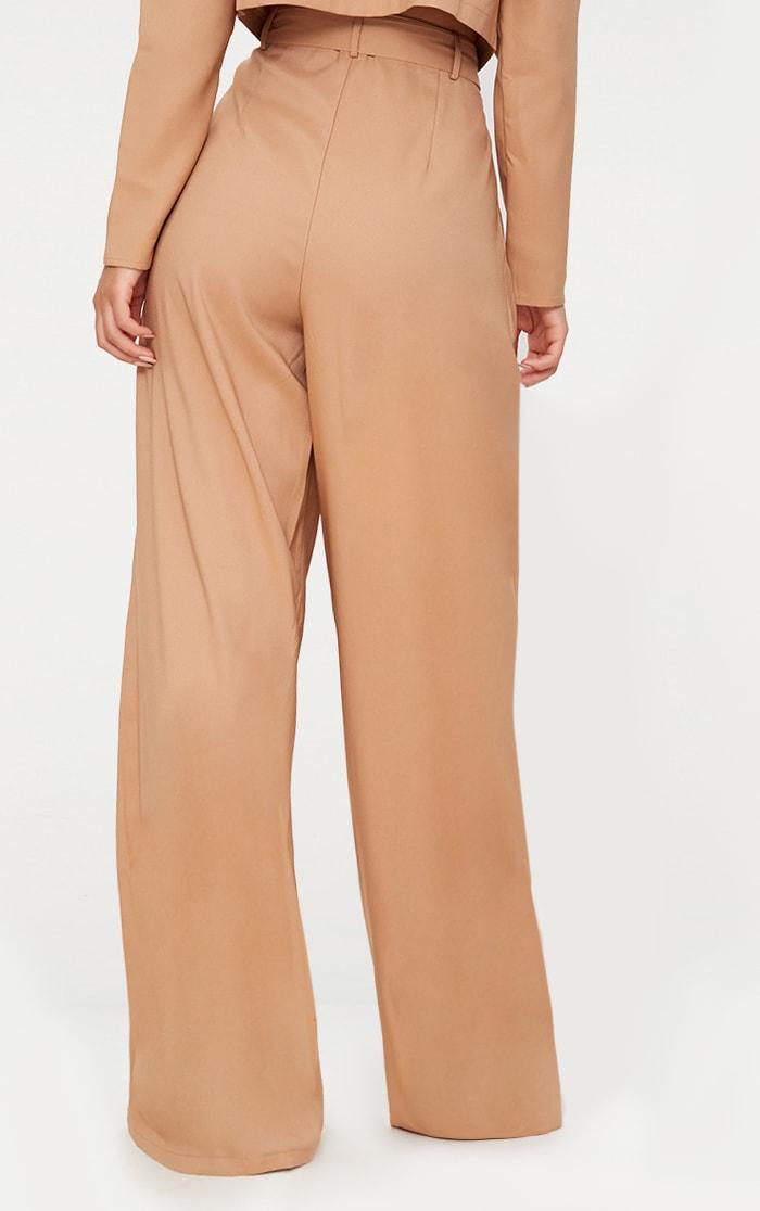 Camel Wide Leg Tie Waist Pants 4