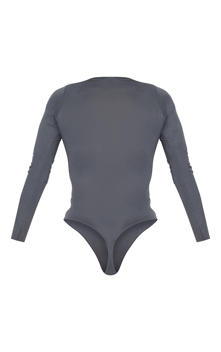 Basic Charcoal Crew Neck Long Sleeve Bodysuit 4
