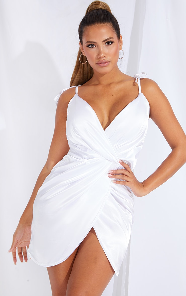 Shape White Satin Tie Shoulder Wrap Bodycon Dress 1