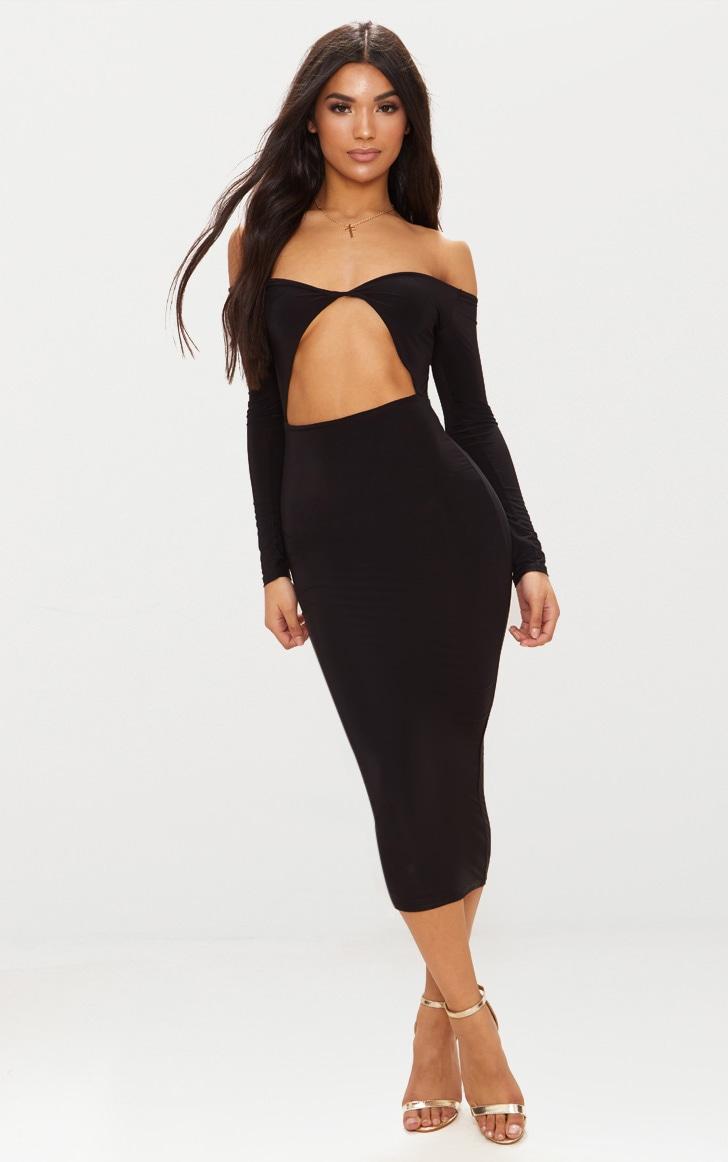 Black Slinky Bardot Cut Out Detail Midi Dress 1
