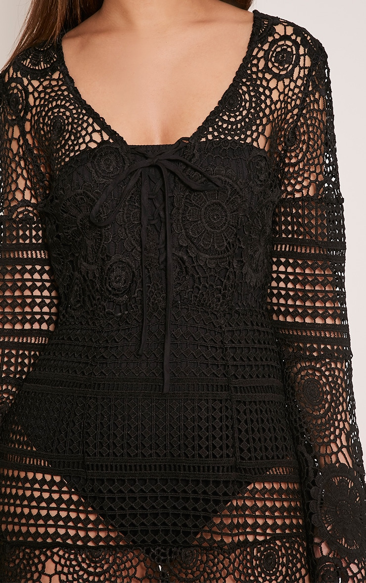 Breanna Black Tie Front Flare Sleeve Crochet Lace Dress 6