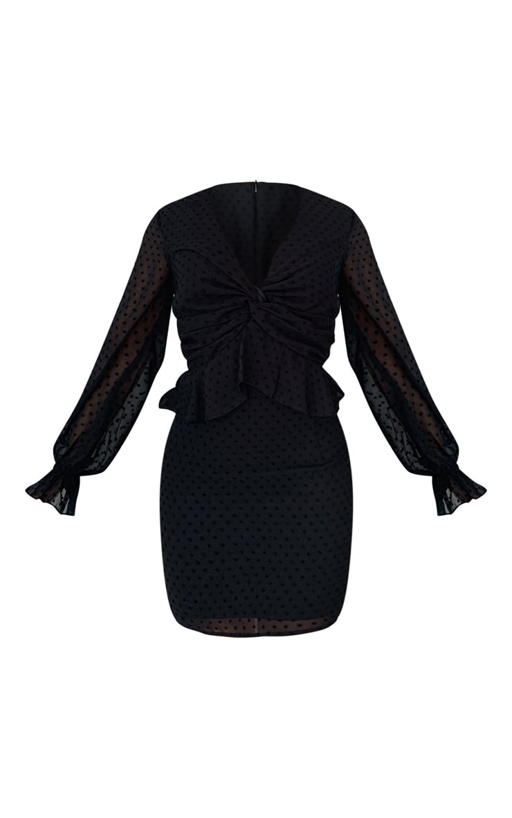 Black Dobby Mesh Twist Front Shift Dress 4