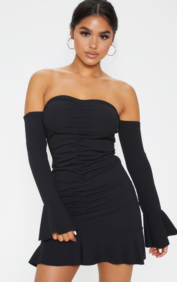 Petite Black Bardot Ruched Bodycon Dress 1