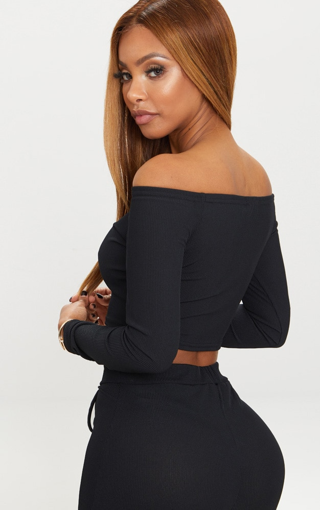 Shape Black Ribbed Bardot Long Sleeve Crop Top 2