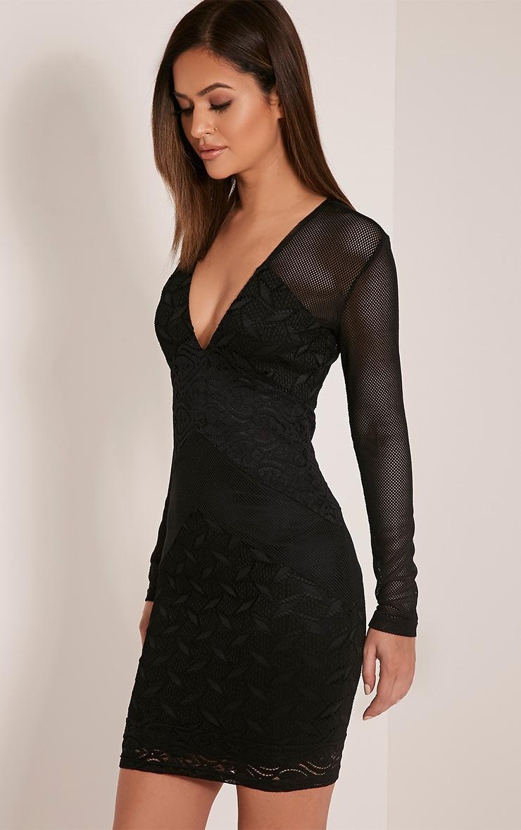Harley Black Lace Insert Bodycon Dress 4