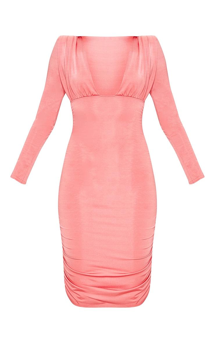 Coral Shoulder Pad Ruched Midi Dress 3
