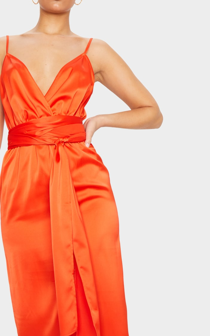 Bright Orange Tie Waist Midi Slip Dress 4