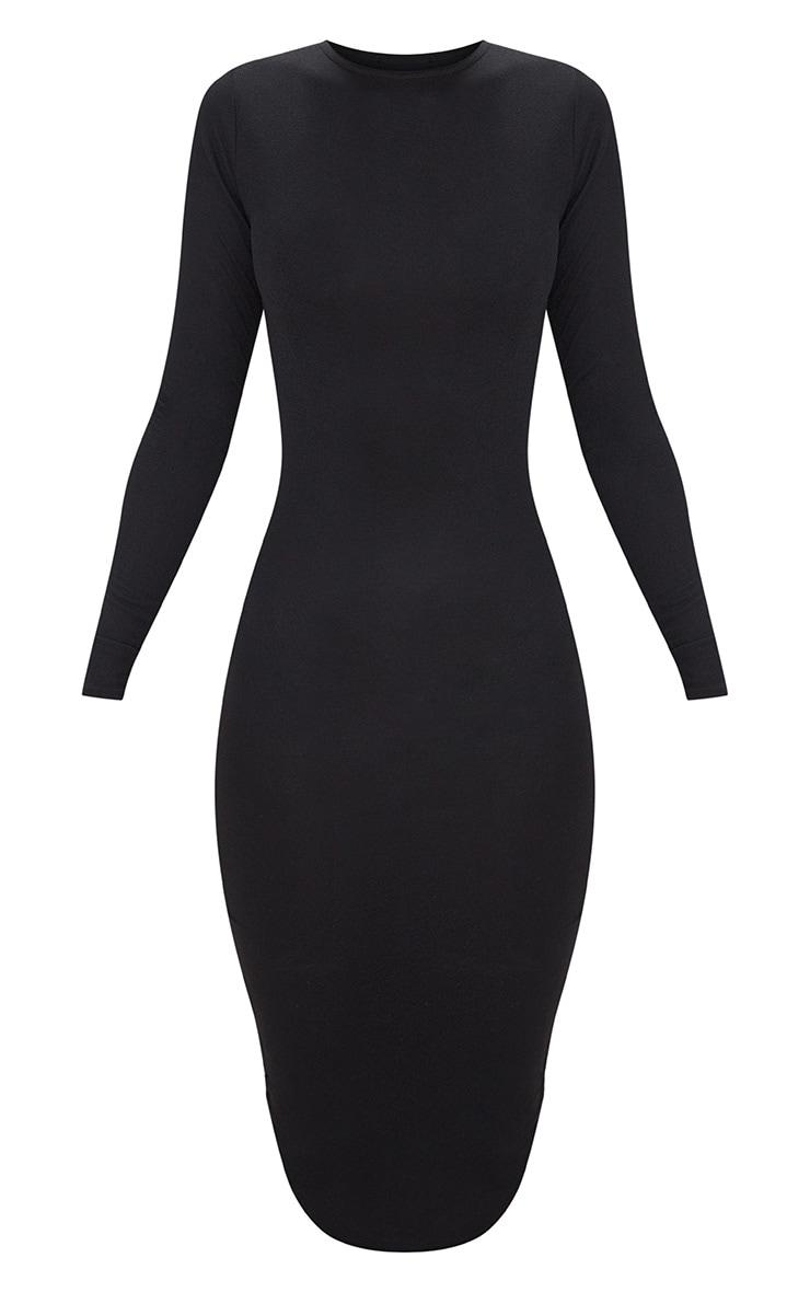Black Long Sleeve Curved Hem Midi Dress 3
