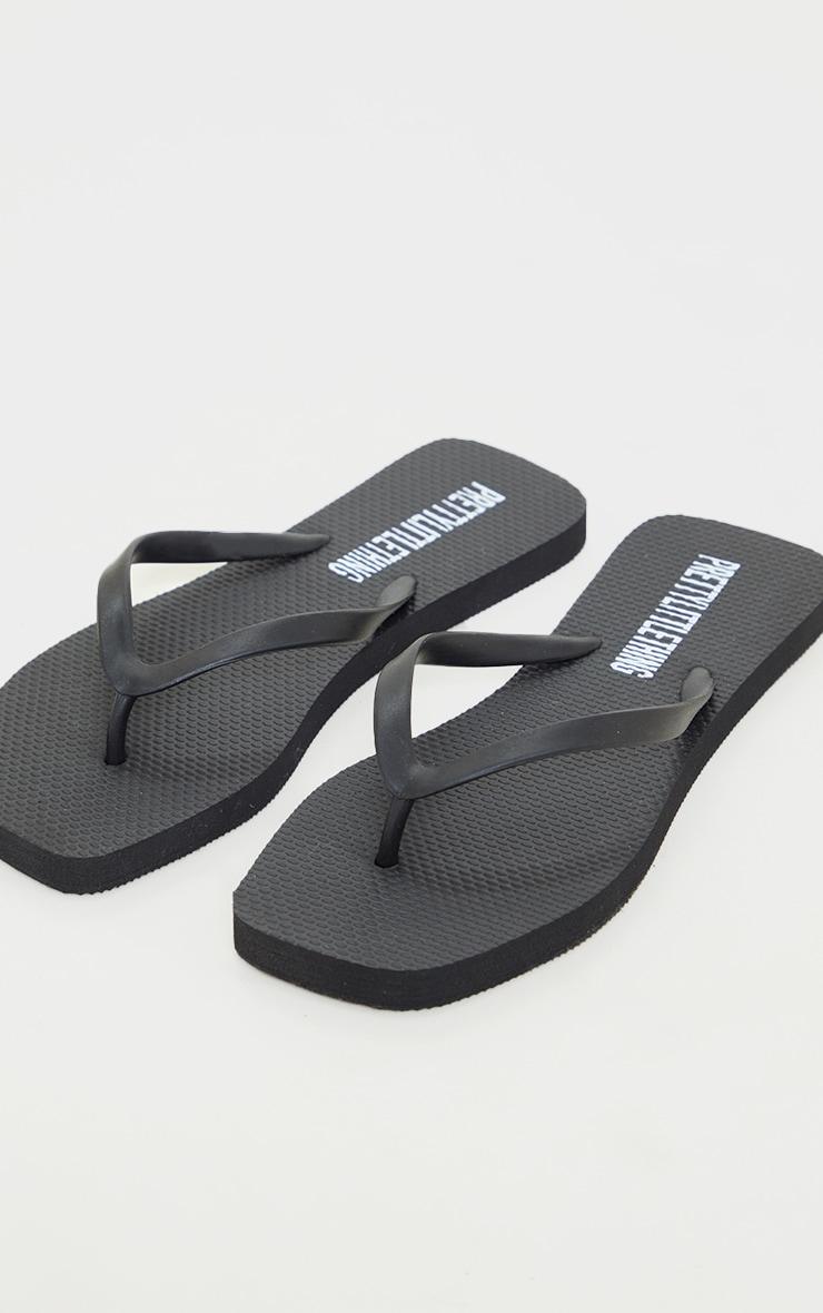 Black Square Toe Flip Flop 4